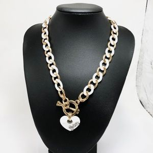 Juicy Couture White & Gold Chain Heart Necklace